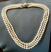 14k White Gold 1.2 Tcw Diamond Clasp 3-strand Graduating Pearl Necklace 9mm-6mm