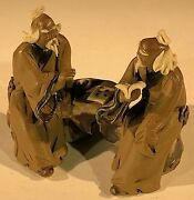 Ceramic Figurines Two Mud Men Sitting On A Bench Statue 1.5 X 2.5 X 2.5 Tall