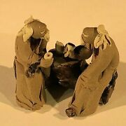Two Mud Men Sitting On A Bench Statue 1 X 2 X 1.5 Tall Ceramic Figurines