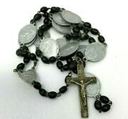 Vtg Antique Rosary Stations Of The Cross Wooden Beads Medal Crucifix 16g 19l