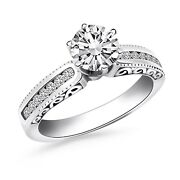 14k White Gold Channel Set Engagement Ring With Engraved Sides Size 9