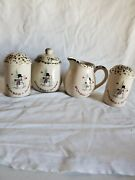 Creamer And Sugar Bowl, Salt And Pepper Shaker Stoneware We Can Build A Snowman