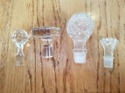 Decanter Stopper Crystal Clear Glass Lot X4 Wine Whiskey Perfume Bottle Stopper