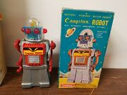 1960and039s Cragstan Japan Tin Battery Op Silver Skirted Robot Toy W/ Box No Lights