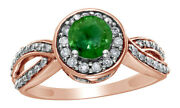 1 Ct Round Cut Green Diamond Framed Twisted Shank Fancy Ring In 14k Rose Gold