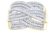 1 Ct Round Cut White Natural Diamond Three Row Woven Ring In 10k Yellow Gold