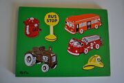 Vintage Sifo Puzzle Wooden Fire Truck / Tractor / Bus Pre-school