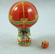 New French Limoges Trinket Box Christmas Hot Air Balloon Santa Claus Andmrs Claus
