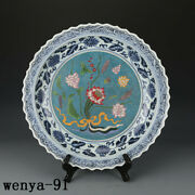 Old China Antique Ming Dynasty Blue And White Cloisonne A Lotus Pattern Disc
