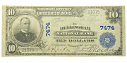 1902 10 Bellingham Wa National Bank Note Currency Large Size Bill 7474