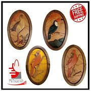 Birds Wooden Wall Art Home Decor Hand Carved Hanging Sri Lankan Eco-friendly