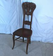 Antique Oak Vanity Or Small Single Chair With Carved Face