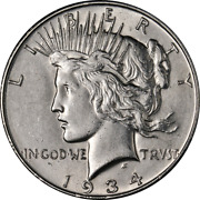1934-d Peace Dollar - Small And039dand039 Great Deals From The Executive Coin Company