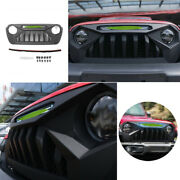 Black Abs Front Central Grille Grill Cover Trim For 2018-2020 Jeep Wrangler Jl