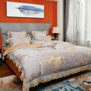 Golden Leaves Lace Satin Cotton Bedding Set Bed Sheet Quilt Cover Pillowcases