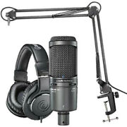 Audio-technica At2020usb+ Microphone Pack With Ath-m20x Boom And Usb Cable
