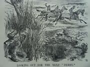 1863 Antique Victorian Print Foreign Policy - Church And Finance Horserace Derby