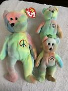 Very Rare 1st Edition Peace Beanie Baby 1996. Full Size And Two Minis.authentic.