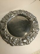 """Round Silver Metal Serving Platter Plate Made In Mexico 13"""" Fruits Nuts Leaves"""