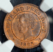 1863 Haiti Republic. Beautiful Copper 5 Centimes Coin. Pop 3/2 Ngc Ms-63 Bn