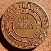 1896 Cripple Creek Colorado Masonic Penny Chapter No33 R.a.m. Htwsstks Coin Cent