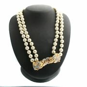 Qvc Kenneth Jay Lane's Goldtone Cream Simulated Pearl Necklace W/pendent T972