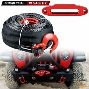 1/2 X 92and039 Synthetic Winch Cable Rope + Red Clevis Hook + 10 Hawse Fairlead Atv