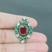 Red Onyx And Green Emerald, Polki Ring Handcrafted Sterling Silver Vintage Rings