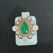 Handcrafted Design Ring Sterling Silver Green Emerald Ring And Polki Diamond Rings