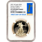 2021 W American Gold Eagle Proof 1 Oz 50 - Ngc Pf70 Ucam First Day Issue 1st