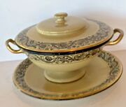 Great Antique Wedgwood Decorated Drab Ware Sauce / Gravy Server Tureen