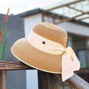 Womenand039s Ring Straw Sun Hats Wide-brimmed Boater Elegant Ribbon Band Fedora Caps