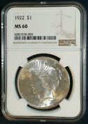 1922 Peace Silver 1 Dollar Coin. Ngc Graded Ms 60. Certification 6081978-005
