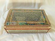 Egyptian Mother Of Pearl Paua Handmade Wooden Inlaid Jewelry Box 10.25x 6 120