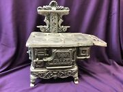 Antique Prize Salesman Sample Nickel Plated Cast Iron Miniature Toy Stove