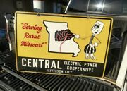 Antique Porcelain Central Electric Power Cooperative Wille Wirehand Sign Gas Oil