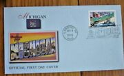 Greetings From Michigan 2002 Blue Fleetwood Cachet Fdc Info On Reverse