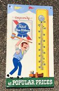 1970andrsquos Vintage Pabst Blue Ribbon Beer Gym Tin Thermometer Pbr Press Sign Co.