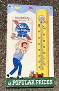 1970's Vintage Pabst Blue Ribbon Beer Gym Tin Thermometer Pbr Press Sign Co.