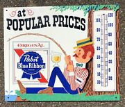 1970's Vintage Pabst Blue Ribbon Beer Fishing Tin Thermometer Pbr Press Sign Co.