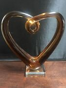 Murano Glassware Blown Glass Heart Sculpture Amber As Pictured