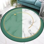 Non-slip Floor Mat Green White Marble Printed Round Carpets Play Tent Area Rugs