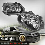 For 99-06 Vw Golf Gti Mk4 Black Headlights Pair W/built-in Projector Fog Lamps A