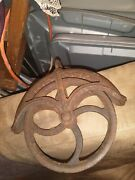 Old Cast Iron Clothesline Well Pulley Old Farm Wheel Barn Steampunk Industrial
