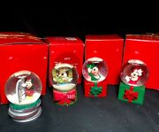 Jc Penney Collectible Mickey Mouse Christmas Snow Globes Lot Of 4