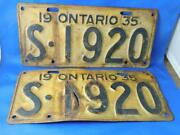 Ontario License Plate 1935 Set Lot Vintage Canada Classic Carshow Shop Sign