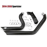 Black Shortshots Exhaust Pipes For Harley Sportster Iron Xl883 Xl1200 2014-2018