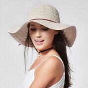 Womenand039s Summer Sun Hats Fold Able Wide Brimmed Straw Cotton Floppy Pack Able Cap