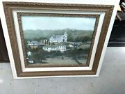 Original Painting Oil On Board Town Of Mohicanville Ohio Ashland County Antique