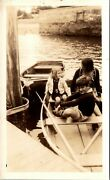 Mother Mom With Son Daughter Young Boy Girl In Rowboat Dinghy Vintage Snapshot